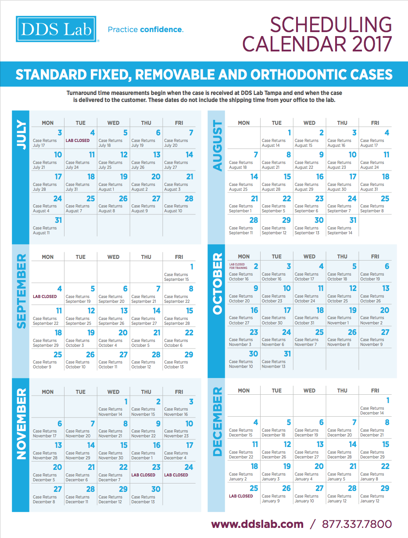 Scheduling Calendar | July - Dec