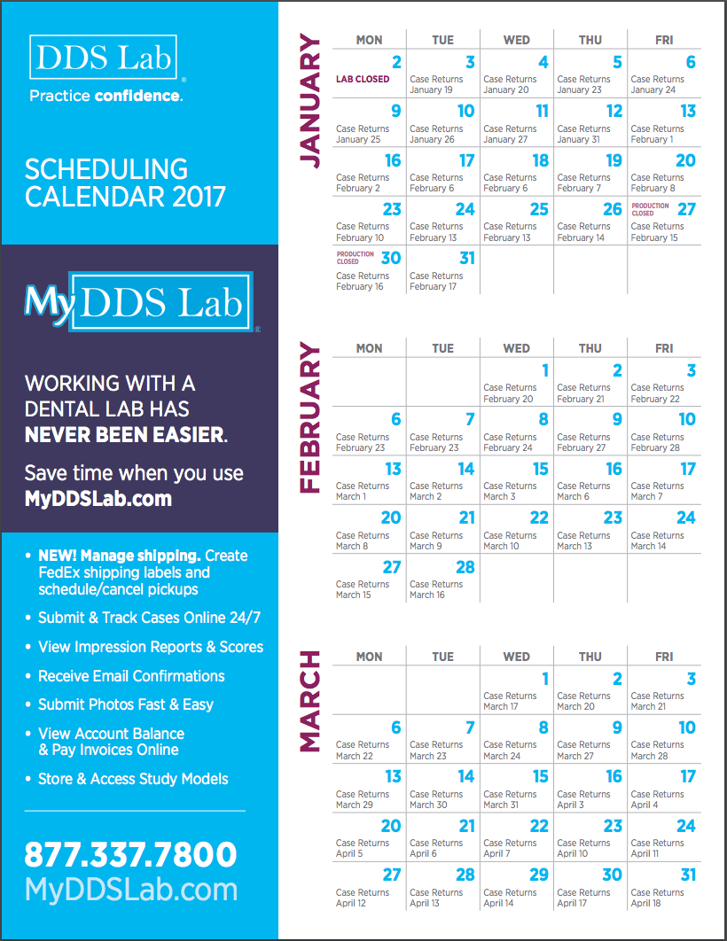 DDS Dental Lab | Scheduling Calendar 2017