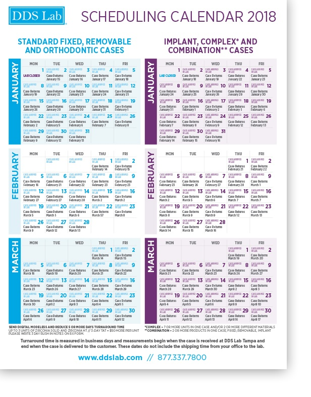 Scheduling Calendar   JAN - MARCH